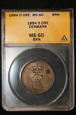 1884 CS. Denmark. 5 Ore. ANACS Graded MS-60.