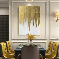 """HH474 Home decor 36"""" 100% Hand-painted Gold foil oil painting on canvas Unframed"""