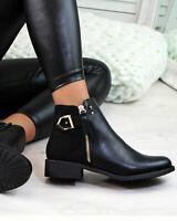 Womens Ankle Chelsea Boots Buckle Zip Block Low Heel Patent Shoes Ladies Size UK