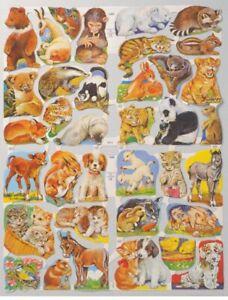 Paper Scrap Die Cut Reliefs / Lithograph / Double Sheet /Mamelok England/Animals