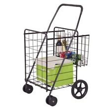 Folding Shopping Cart Jumbo Basket Grocery Laundry Travel w/ Swivel Wheels Us