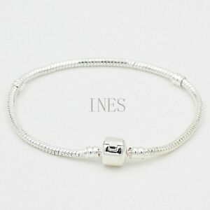 Silver Plated 3mm Wide Beads Charm Bracelet Bangle 8 inches Long.925 Sterling