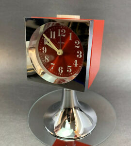 Vintage 1970s Europa Germany RED MINI Wind Up Jewel Alarm Clock Works Midcentury