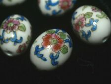 Hand Painted Porcelain Chinese Rare Vintage Focal Bead White Flowers Oval 18mm