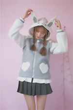 LOLITA Girls Cute Rabbit Ear Pattern Hoodies Students Loose Long Sleeve Hoodies