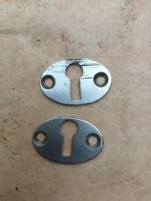 Pair of Vintage Chrome Oval Escutcheons
