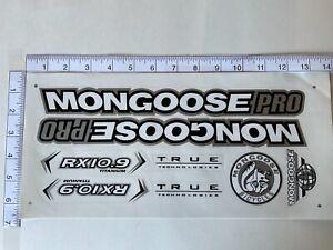 Mongoose PRO RX 10.9 Titanium Stickers  White, Black & Silver.  DIE CUT.