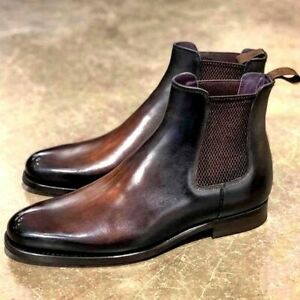 Men Chelsea Casual Brown Leather Jumper Ankle Boots