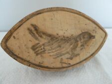 More details for rare 19 th c sycamore boat shape butter stamp bird - wren