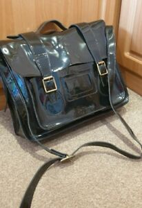 "BEAUTIFUL!  Dr Martens 15"" Black Patent Leather Satchel/Bag"