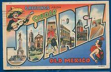 Ciudad Juarez Old Mexico large letters letter linen postcard