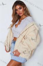 UK Womens Teddy Bear Oversized Coat Ladies Borg Zip Faux Fur Jacket Size 8 - 18