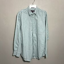 NORDSTROM Mens L Blue Gray Stripe Dress Shirt 100% Premium Cotton Wrinkle Free
