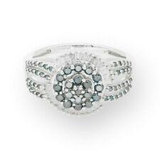 9Ct White Gold 1.10ct Blue & White Round Diamond Halo Cluster Ring (Size R 1/2)