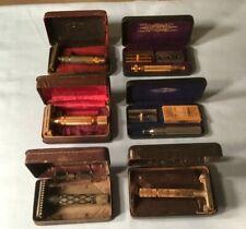 6 Old Gillette Safety Razors + Cases Aristocrat & 1 Diamond Design Dated 1920