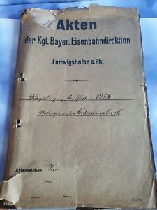 ORIGINAL KARTE Kgl. Bayer. Eisenbahndirektion 1865 Ludwigshafen  Niederwürzbach