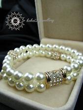 Wedding/Bridal/Pearl Simualated Diamond/Double Bracelets/RGB032G