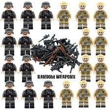WWII GERMAN v BRITISH Soldiers + Weapons Mini Figures WW2 Military Set Fit Lego