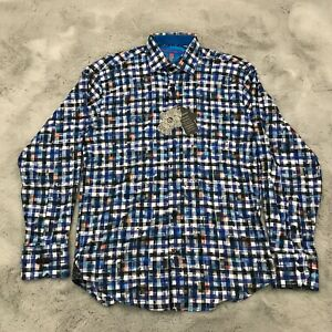 New Luchiano Visconti Black Button Down Shirt Flip Cuff Mens Size Small Multi