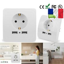 PRISE MURALE SECTEUR 220v Maison chargeur double USB Blanc