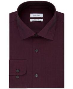 Calvin Klein Mens Dress Shirt Bordeaux Red Size 15 1/2 M Performance Fit $75 096