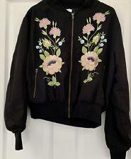 Glamorous Flower Pattern Black Bomber Jacket Size 12