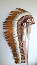 Z35 Extra Large Ocher color Feather Headdress (43 inch long )
