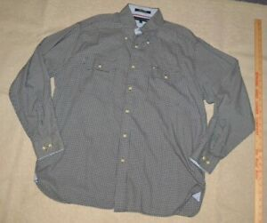 Mens buttoned shirt, size L, Tommy Hilfiger, blue & white plaid