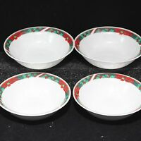 "Gibson Poinsettia Bowls Soup Cereal Christmas 6-1/2"" Lot of 4"