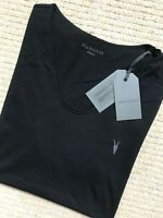 "ALL SAINTS JET BLACK ""VIDO TONIC"" S/S SCOOP LOGO T-SHIRT - XS S M L XL - NEW TAG"