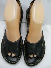 Born Womens Wedge Heels / Shoes Size 8 M Black Leather Slip on #B