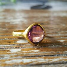 Amethyst 14K Gold Plated Over Sterling Silver Ring - US size 8