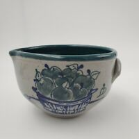 Great Bay Pottery Batter Bowl Blue Apples in Basket Stoneware Pottery Bowl