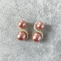 Boucles d'oreilles Clous Doré Deux Perle Brun 8 Forme Retro DD13