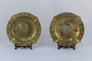 ANTIGUOS 2 Ceniceros de Bronce LORD WINSTON'S Inglaterra -  12cm Ø,   Años 50