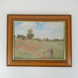 "Framed Signed Print Painting Landscape of Poppy Flower Field 16x20"" Wooden Frame"