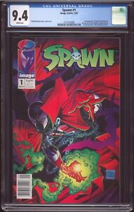SPAWN # 1 NEWSSTAND EDITION MAY 1992 CGC-GRADED 9.4 NEAR MINT WHITE PAGE G-248