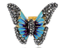 Jet Black Crystals Rhinestones Turquoise Enamel Butterfly Fashion Charm Rings