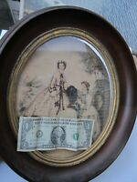 SCARCE Early Antique Victorian Classic Oval Walnut Frame, c1840, Fashion Print