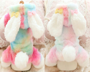 Pet Dog Cat Jumpsuit Coat Winter Colorful Rabbit Small Dogs Cotton-Padded Jacket