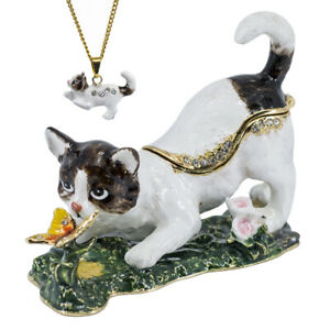 Bejeweled White Cat w/ Butterfly Enameled Pewter Trinket Box With Necklace!