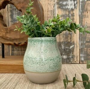 Ceramic Glazed Vase Handmade Artisan Pottery Earthenware Two Tone Stoneware Pot