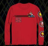 New Nintendo Super Mario Kart Red Mens Vintage Long Sleeve T-Shirt