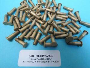 (70) Titanium 3/16 #10-32 x 5/8 (5/16 Grip) Hi-Lok Aerospace Pin Bolt HL10VAZ6-5