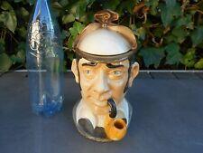 Ancien gros pot à tabac en céramique tête de gentleman anglais fumant la pipe