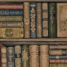 Wallpaper Designer Library Book Bookshelves Brown Green Red Gold & Black Blue