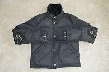 Prada Black Mink Fur Collar Down Zip Bomber Jacket Coat Womens Size 40 / UK 6-8