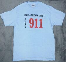 Vtg Hanes Single Stitch 80s T Shirt To Make A Fireman Come Dial 911 Men's Large