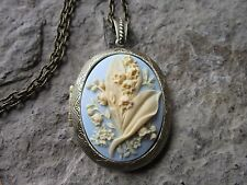 LILY OF THE VALLEY CAMEO LOCKET - ANTIQUE BRONZE, CREAM ON PALE BLUE, QUALITY