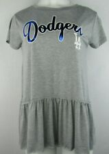 L.A. Dodgers MLB Women's Gray Short Sleeve Shirt with Frills
